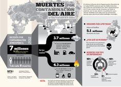 Muertes por contaminación del aire Los fallecimientos por polución atmosférica en 2012 representaron el 12.5 por ciento de las muertes en todo el planeta: OMS #Infografia