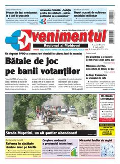 Prima pagina a ziarului Evenimentul din 16.05.2013