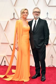 """Alison Balsom and her husband Sam Mendes arrive on the red carpet at the 92nd Academy Awards - February 9, 2020.  Mendes received a Best Director Oscar nomination for his work on """"1917"""".  He lost to Bong Joon-Ho for the movie """"Parasite"""". Dior Haute Couture, Couture Fashion, Oscars, Sam Mendes, Hollywood, Oscar Winners, Academy Awards, Red Carpet Looks, Red Carpet Fashion"""