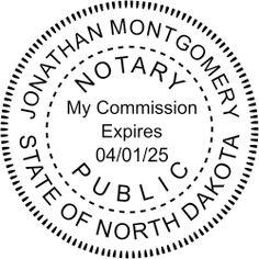 North Dakota Round Notary Seal Stamp