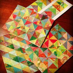 June happy art swap haswap. Gelli plate print paper quilts Kelley Holmes