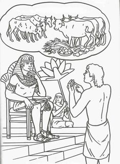 Joseph gave the interpretation of Pharaoh's prophetic dream, saving his family and many others from the famine to come! Bible Coloring Page Bible Story Crafts, Bible School Crafts, Bible Crafts For Kids, Preschool Bible, Bible Lessons For Kids, Bible Activities, Bible Stories, Sunday School Activities, Sunday School Lessons