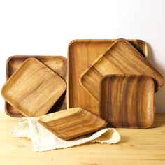 boho chic Wooden Tray Dinner Plate Acacia Round Square Rectangle-in Dishes Serving Utensils, Serving Dishes, Wooden Plates, Side Plates, Wood Patterns, Acacia Wood, Aliexpress, Food Plating, Dinner Plates