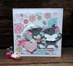 Crea-spul van Colien: Eline's cute animals #10. Marianne Design Cards, Diy And Crafts, Paper Crafts, Kittens, Cute Animals, Design Inspiration, Scrapbook, Invitations, Crafty
