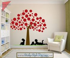 Polka Dot Tree Wall Mural Decal with Children Silhouette -Free Shipping! Abstract Vinyl Art Nursery Graphic Sticker Applique Transfer #T013