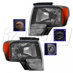 2010 - 2012 Ford F150 Truck SVT Raptor Smoked Style Bezel Headlight Pair