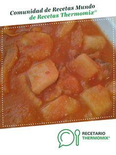 PAPAS CON CHOCO por Ana Mon. La receta de Thermomix<sup>®</sup> se encuentra en la categoría Pescados y mariscos en www.recetario.es, de Thermomix<sup>®</sup> Cantaloupe, Diet Ideas, Fruit, Food, The World, Potato Recipes, 4 Ingredients, Food Processor, Books