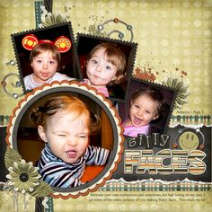 silly faces layout; 1 circle picture and 3 square pictures