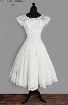 1950's White Lace Tea Length Audrey Hepburn Wedding Dress :