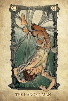 Tarot: The Hanged Man by ~SceithAilm. A set of Tolkien-themed Tarot cards. Frodo in Shelob's webs. Hanged Man Tarot, The Hanged Man, Jrr Tolkien, La Danse Macabre, Art Carte, O Hobbit, Major Arcana, Grafik Design, Tarot Decks