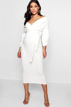 5256b04023ef Robe -mollet de grossesse à épaules dénudées