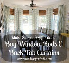 DIY Bay Window Curtain Rod & Back Tab Curtains with conduit Diy Bay Window Curtains, Dining Room Curtains, Tab Curtains, High Curtains, Chevron Curtains, Bedroom Curtains, Hanging Curtains, Kitchen Curtains, Bay Window Treatments