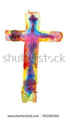 The colorful watercolor illustration of a cross isolated on white background,on a separate layer.