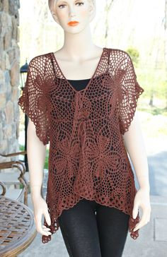Chocolate Crochet Tunic by CasadeAngelaCrochet on Etsy, $79.00
