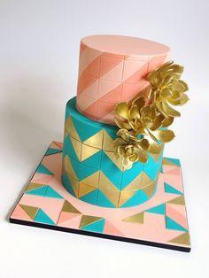 Luxury Geometric Luxury Geometric Peach and turquoise geometric design…