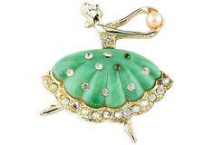 Vintage green Ballerina Brooch on OneKingsLane.com