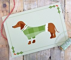 Sweater Dog Dachshund Holiday Christmas Card by ktcrawford on Etsy