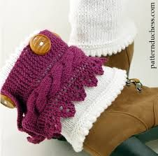 free knitting patterns for lace boot cuffs - Google Search
