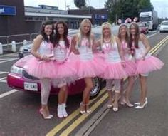 Bachelorette party idea :)  except girls will b in purple and me in white--- I so want to dress up and be obnoxious with long socks and bride shirts