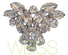 Signed Weiss Clear Crystal Rhinestone Brooch Pin Gorgeous Rhodium Plate | eBay