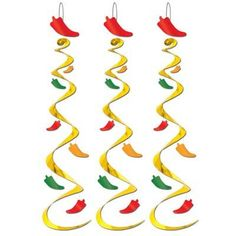 Decorate for any Fiesta themed party with these festive Chili Pepper Foil Swirls that are perfect for hanging at any party room. Package includes 3 Chili Pepper Foil Swirls with each measuring 30in.