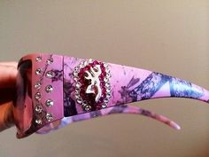 Pink camo sunglasses with bling