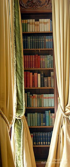 Books do furnish a room...even if they're hiding behind sumptuous curtains.