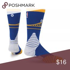 NEW Stance Basketball Socks Golden State Warriors Stance Fusion Basketball Socks - Blue/White/Yellow tip Fit No. 559 Crew Height L size 9-12 Stance Accessories