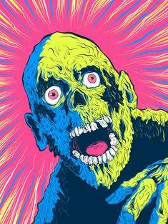 "Hero Complex Gallery's ""Blacklight Exhibit Has Several Crazy Good Horror Pieces - Bloody Disgusting Zombie Kunst, Arte Zombie, Zombie Art, Retro Horror, Vintage Horror, Kunst Inspo, Art Inspo, Art And Illustration, Halloween Art"