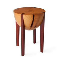 What a cool stool!  Made of white pine and padauk preserving the natural grain and texture of the wood.  By Brandon Phillips for Miles and May