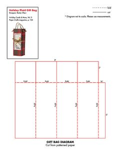 Free Gift Bag pattern. Here is a link to another gift bag pattern and the instructions: http://www.stampinup.com/us/documents/Angelas_Gift_Bag_Pattern_9.1.pdf   Instructions: http://www.schader.com/Angela_Sylvesters_gift_bag_instructions_9.1.pdf