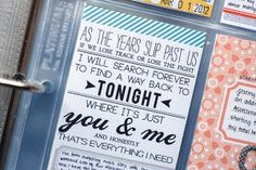 Song lyrics and fun text - love this project lifer's pages!