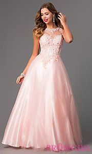 Buy Sleeveless Floor Length Embroidered Ball Gown at PromGirl