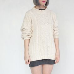 Great cotton oversized Aran-type sweater from clevernettle--$33.00! (Alas, too over-sized for me)