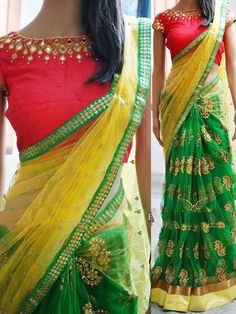 New Arrivals - Bollywood Replica - Designer Green Saree - - Products Details :Style : Bollywood Replica Wedding Wear / Party Wear Saree Length Of Saree : Special - Bollywood Rep Designer Sarees Collection, Saree Collection, Fancy Sarees, Party Wear Sarees, Blouse Patterns, Saree Blouse Designs, Indie Girls, Mirror Work Blouse Design, Net Blouses