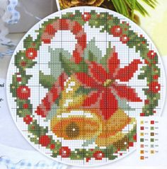 Gallery.ru / Фото #2 - Подарки с вышивкой - irgelena Cross Stitch Christmas Ornaments, Christmas Bells, Christmas Cross, Christmas Diy, Christmas Things, Cross Stitch Cards, Cross Stitching, Cross Stitch Embroidery, Bead Loom Patterns