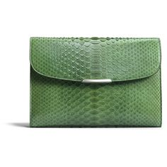 Asprey Regent Envelope Clutch (15,975 MYR) ❤ liked on Polyvore featuring bags, handbags, clutches, green, green handbags, man bag, snake print handbag, handbags purses and green envelope clutch