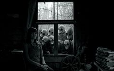 dark apocalyptic apocal gas mask scary creepy spooky black white people window…