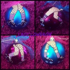Roller Derby Christmas hand painted skater legs Baubles by http://instagram.com/lady_lowbrow