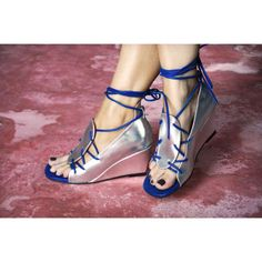Grace Lace up Wedge in Silver by Preston Zly Design