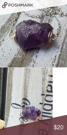 Amethyst stone pendant necklace Beautiful amethyst nugget. Can be sized to customers preference. handmade Jewelry Necklaces