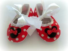 NEW-Baby Booties-Crib Shoes Minnie Mouse Red Polka Dot  Disney shoes made by Maddie B's Boutique on Etsy.