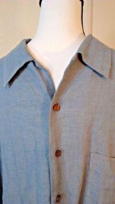 Boca-Classics-Island-Wear-Large-Blue-Hawaiian-Shirt-Linen-blend