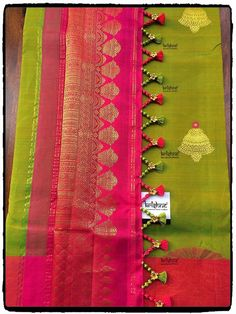Traditional Silk Saree handcrafted with designer tassel kuchu from Krishne Saree Tassels Saree Tassels Designs, Saree Kuchu Designs, Pattu Saree Blouse Designs, Fancy Blouse Designs, Silk Saree Kanchipuram, Silk Sarees, Indian Sarees, Seda Sari, Traditional Silk Saree