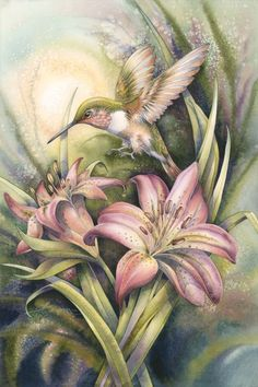 The Come Fly With Me print by Jody Bergsma is a beautiful piece of artwork to display. Features a beautiful hummingbird coming in for a drink of sweet nectar from flowers. Watercolor Paintings, Original Paintings, Pastel Watercolor, Watercolors, Hummingbird Art, China Painting, Colouring Pages, Coloring Books, Beautiful Birds