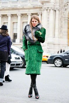 Peek-a-boo boots -- not to mention the emerald coat.