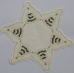 Christmas Doilies  Star Shaped Cream Colored Doily with Christmas Trees and Snow Gold Thread Accent * Want to know more, click on the image.