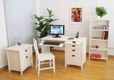 White Home Office Furniture, Home Office Chairs, Home Desk, Desk Chairs, White Furniture, Small Office Desk, White Desk Office, Office Workspace, Asian Home Decor