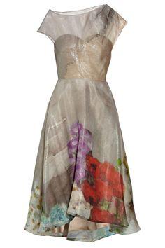 "Love the ""impressionist-inspired florals"" | Lela RoseFloral-print silk-blend organza dress"