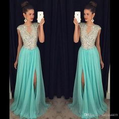 2016 Long Bling Evening Dresses Wear Cap Sleeves Illusion Chiffon Crystal Beads Royal Blue Pink Side Split Party Dress Formal Prom Gowns Online with $139.27/Piece on Haiyan4419's Store | DHgate.com